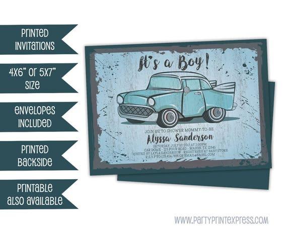 Vintage Car Baby Shower Invitations Retro Truck Baby Shower - Classic car invitations