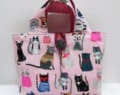 Mini sac fillette chats sur fond rose