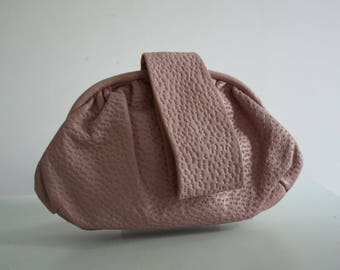 Vintage 1940s Pink Leather Bag by Freedex
