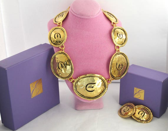 Elizabeth Taylor for Avon signed gold tone Hammered Shield Panel Necklace & Earring Set with original boxes ~runway, vintage costume jewelry