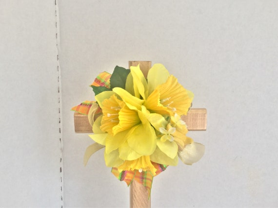 Easter Cemetery cross with flowers, grave decoration, memorial cross, flowered cross, Floralmemorials,