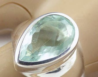 Aquamarine ring aquamarine jewels, natural stone kb40 AIGUEMARINE FACETTEE, heart chakra, natural stone ring