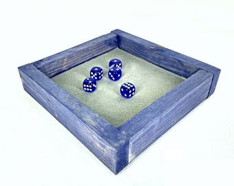 Tabletop Game Tray, Roleplaying Dice Box, Weathered Blue Tray, Wooden Felt Lined Box, Gamer Gift Tray, Game Room Decor, Handmade Wood Tray