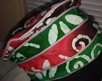 Red and Green African Print Hat