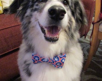 Dog Bow Tie Adjustable Independence Day Red Circles with Blue and White Stars