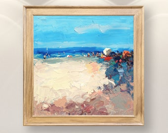 Summer Beach Painting Large Painting Impressionist Painting Beach Art Ocean Painting Sea Painting Beach Scene Painting Coastal Painting