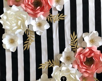 Paper flower backdrop, Paper flower wall decor, Photo prop, paper flower backdrop for graduation