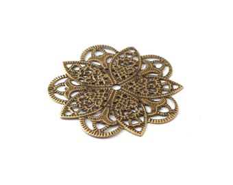 46 mm bronze filigree flower color print / ES009