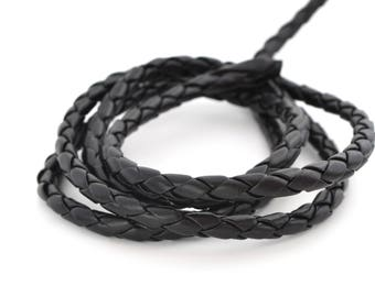 Braided 5 mm black leather cord