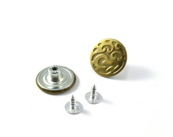 Buttons 20 mm set of 2 bronze jeans color