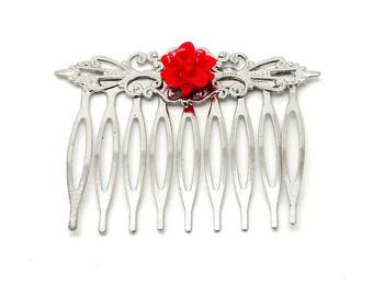 Red flower charms and co. Silver accessory hair clip