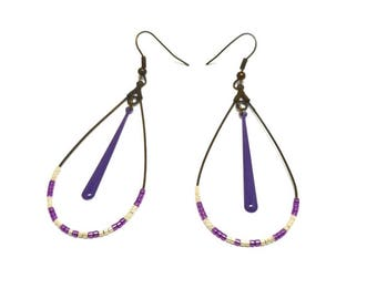 Earrings sleepers bronze beads miyuki and drop purple