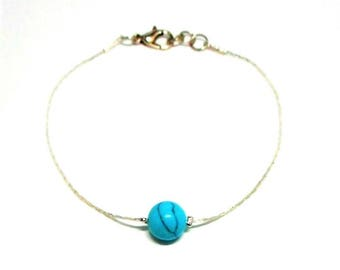 Minimalist silver plated bracelet, Pearl natural turquoise