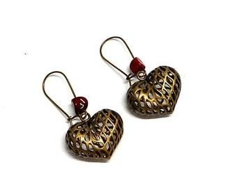 Red heart beads Wire Earrings