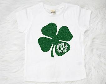 St Patrick's Day Shirt, Kids Monogrammed Shamrock Shirt, Monogrammed Shamrock Shirt, Girl CLothing,