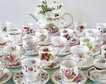 Tea Party Set, Mismatched Tea Cups, Vintage Teacups, Mix and Match, Bridal Shower China, lady-size.