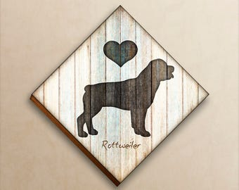 Rottweiler Dog Breed Diamond Shaped Print Mounted by Dan Morris, Add dog name, In remembrance of dog, Ready to Hang
