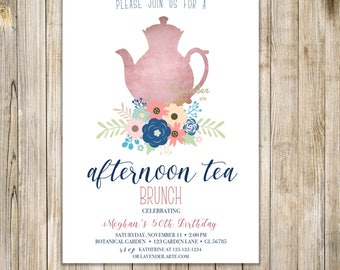 BIRTHDAY TEA PARTY Invitation,  Floral Afternoon Tea Invite, 50th Birthday Tea Party Invite, High Tea Brunch Invites, Tea Party Printable