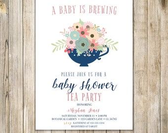 A BABY IS BREWING Party Invitation, Floral Baby Shower Tea Invite, Tea for Two Invites, Twins Shower Tea, Sip N See High Tea, Meet and Greet