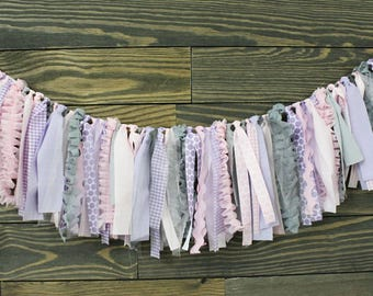 Pink and Purple Fabric Garland. Home decor, girl baby shower, girl nursery, wedding decor, barn wedding, bridal shower, photo prop, shower
