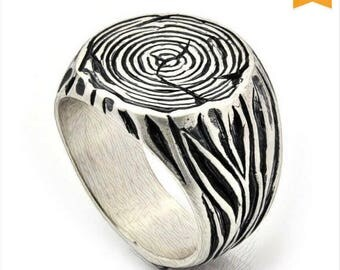SALE, Gift for him, Father's day sale, Men's Signet Ring, Tribal Ring, Tree Trunk silver Ring, Sterling Silver Signet, Trunk Ring, Tree Ring