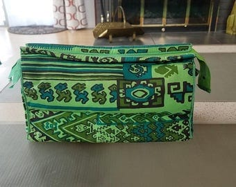 Vintage Makeup Accessory Bag Small Purse by Silvania Silvia of Peru Mid Century Fabric Designer Vibrant Peruvian Prints