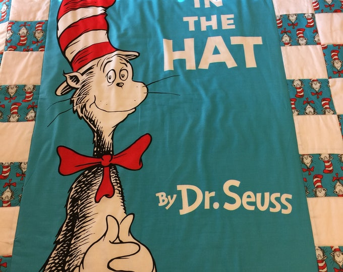 Cat In The Hat Quilt, Handmade Lap Size Quilt, Toddler Quilt
