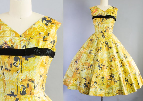 1950s Cotton Sateen Print Dress | Small (35B/26W)