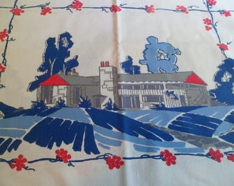 """Vintage Mid Century Startex Starmont  Ranch House Tablecloth Blue Red 48 x 54"""""""