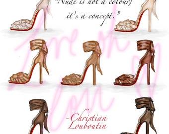 Fashion Illustration Print- Nude Heels - Christian Louboutin