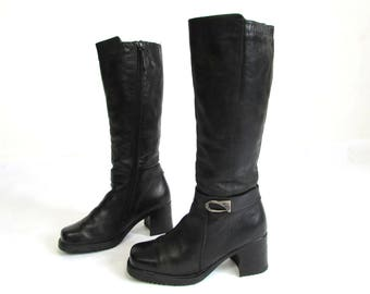 Vintage Black Leather Zipper Ankle Boots Warm Tall Fitted Boots + Faux Fur Lining Size EUR 37   US 6.5/ UK 4