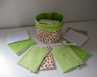 12 cherry cotton wipes and sponge and small matching pouch - baby or MOM