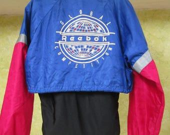 Vintage Reebok Sport Red Blue Black Global Competition Zip Hooded Windbreaker Jacket M