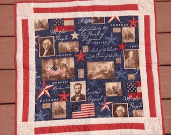 Handmade quilted Liberty table topper
