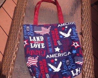 Patriotic tote back - handmade quilted