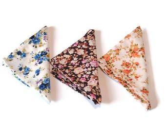 christmas gift husband gift set of 3 floral pocket squares brown pocket square white blue pocket square white orange pocket square men jdfh