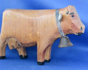 Vintage Brienz Swiss Carved Wood Cow