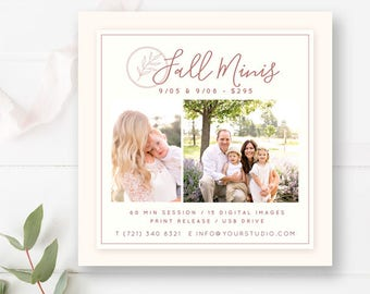 Fall Mini Session Template for Photographers, Photography Autumn Minis Templates, Mini Sessions Flyer Marketing, INSTANT DOWNLOAD!