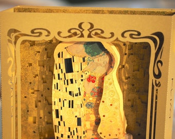Birthday Gift Art Pop up Art Card Pop up card Gustav Klimt The Kiss Lovers Painting Art Unique Gift For Her Wife Husband Woman Exclusive Art