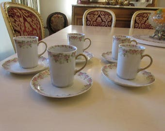 FRANCE WM GUERIN Demitasse Cups and Saucers
