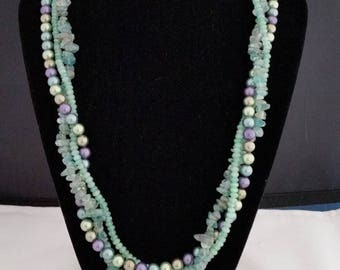 "21"" 3 strand pearl, apatite and chalcedony necklace"