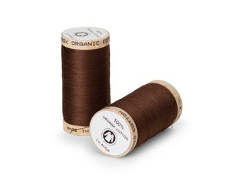 Walnut Brown Organic Cotton Thread 300 yards-  Eco-Friendly Thread - 100% Organic Cotton Thread