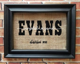 Last Name Burlap Frame - Last Name Home Decor - Wedding Gift - Engagement Gift - Couple's Gift - Bridal Shower Gift - Picture Frame