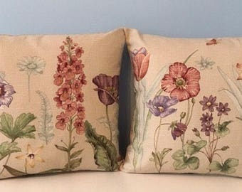PAIR OF Botanical throw pillow covers. Garden flower pillow, neutral sofa pillow, cottage decor earth tones, Waverly decorator pillow, zippe