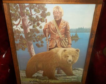 Grizzly Adams and Bear Painting, Framed, Rustic cabin Decor, Kodiak Brown Grizzly Bear, Nature Scene, Mountain Man, Trapper, Hunter, Hiking