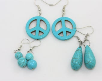 Natural Turquoise Earrings Set of THREE: Peace Signs, Tear Drop, and Stacked Beads | La Isla Creations by Maribel