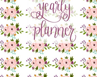 Small Undated Inspirational Motivational Planner - One Year Fill in Calendar Planner - Weekly Planbook - Monthly Floral Yearly Schedule