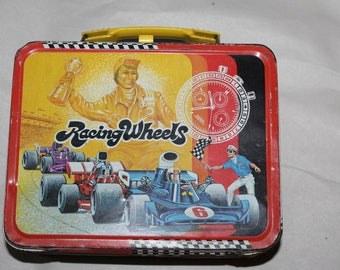 SALE  Vintage RACING WHEELS with Original Thermos, Good Vintage Cond., 1977, Pictures on Lunch Box, Includes Indy Cars & Nascar
