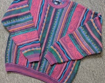 Coogi Style Hip Hop Cable Knit Cosby Cotton Sweater by Cotton Traders, Size Large, Multi-Color