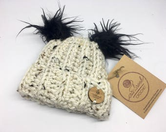 Baby's Size Faux Fur PomPom Warm Toque Hat